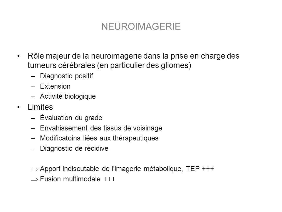 NEUROIMAGERIE Rôle majeur de la neuroimagerie dans la prise en charge des tumeurs cérébrales (en particulier des gliomes) –Diagnostic positif –Extension –Activité biologique Limites –Évaluation du grade –Envahissement des tissus de voisinage –Modificatoins liées aux thérapeutiques –Diagnostic de récidive Apport indiscutable de limagerie métabolique, TEP +++ Fusion multimodale +++
