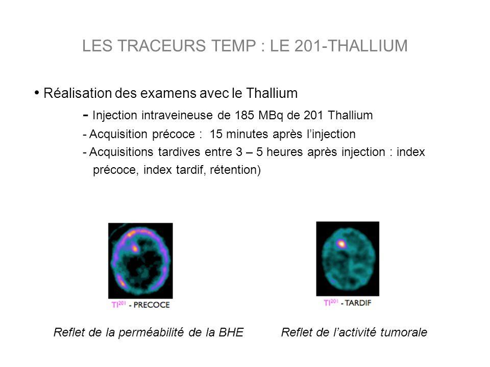 Réalisation des examens avec le Thallium - Injection intraveineuse de 185 MBq de 201 Thallium - Acquisition précoce : 15 minutes après linjection - Ac