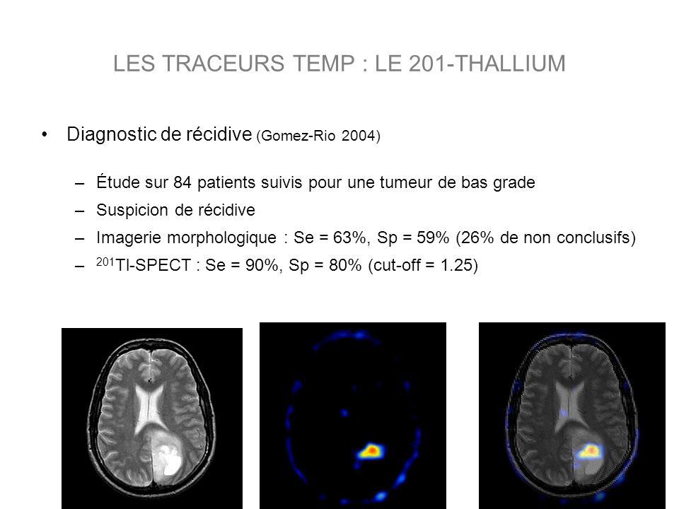 Diagnostic de récidive (Gomez-Rio 2004) –Étude sur 84 patients suivis pour une tumeur de bas grade –Suspicion de récidive –Imagerie morphologique : Se = 63%, Sp = 59% (26% de non conclusifs) – 201 Tl-SPECT : Se = 90%, Sp = 80% (cut-off = 1.25) LES TRACEURS TEMP : LE 201-THALLIUM