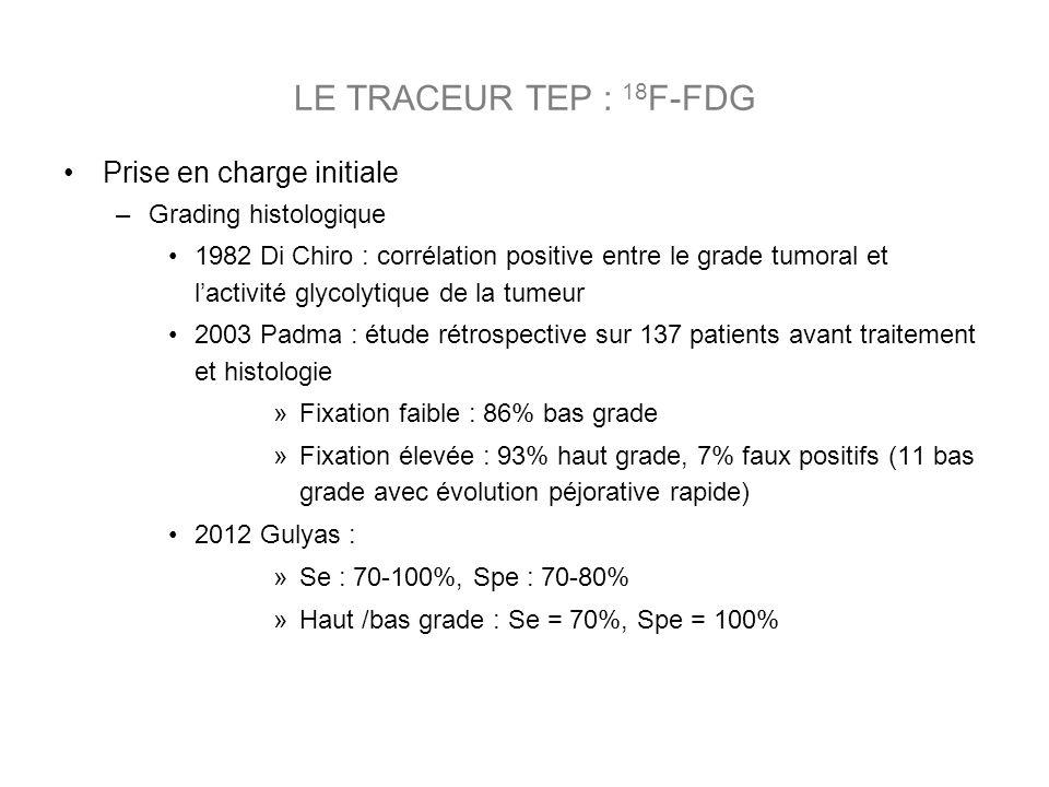 Prise en charge initiale –Grading histologique 1982 Di Chiro : corrélation positive entre le grade tumoral et lactivité glycolytique de la tumeur 2003