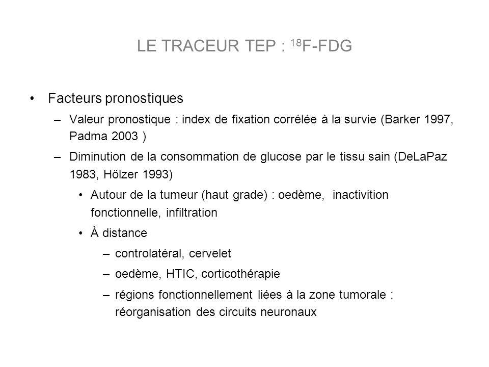 Facteurs pronostiques –Valeur pronostique : index de fixation corrélée à la survie (Barker 1997, Padma 2003 ) –Diminution de la consommation de glucos