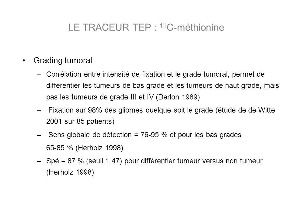 Grading tumoral –Corrélation entre intensité de fixation et le grade tumoral, permet de différentier les tumeurs de bas grade et les tumeurs de haut grade, mais pas les tumeurs de grade III et IV (Derlon 1989) – Fixation sur 98% des gliomes quelque soit le grade (étude de de Witte 2001 sur 85 patients) – Sens globale de détection = 76-95 % et pour les bas grades 65-85 % (Herholz 1998) –Spé = 87 % (seuil 1.47) pour différentier tumeur versus non tumeur (Herholz 1998) LE TRACEUR TEP : 11 C-méthionine