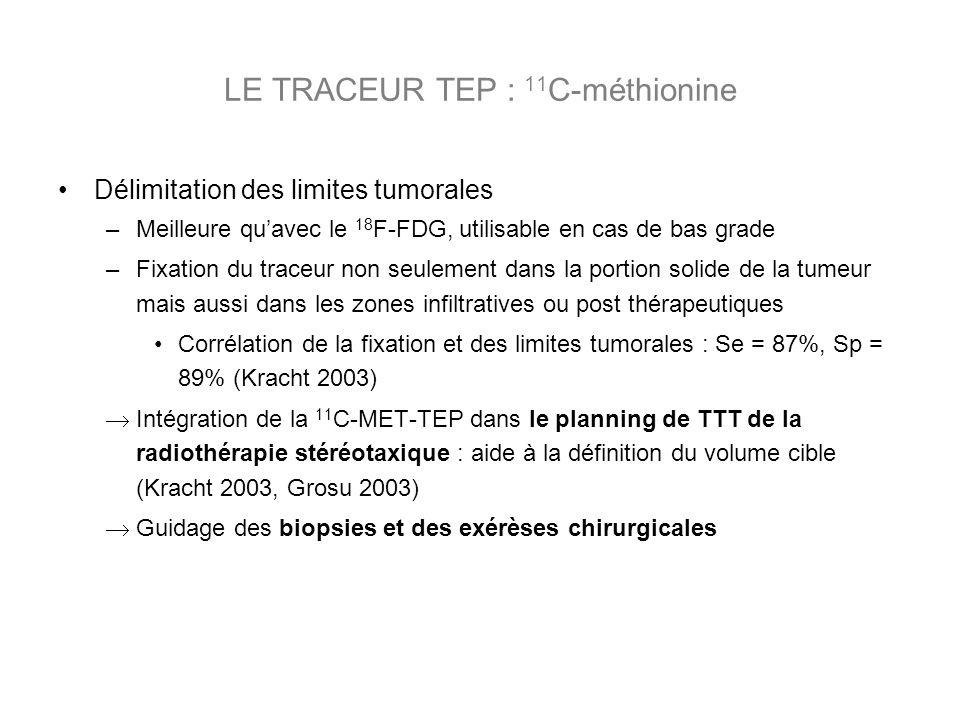 Délimitation des limites tumorales –Meilleure quavec le 18 F-FDG, utilisable en cas de bas grade –Fixation du traceur non seulement dans la portion solide de la tumeur mais aussi dans les zones infiltratives ou post thérapeutiques Corrélation de la fixation et des limites tumorales : Se = 87%, Sp = 89% (Kracht 2003) Intégration de la 11 C-MET-TEP dans le planning de TTT de la radiothérapie stéréotaxique : aide à la définition du volume cible (Kracht 2003, Grosu 2003) Guidage des biopsies et des exérèses chirurgicales LE TRACEUR TEP : 11 C-méthionine