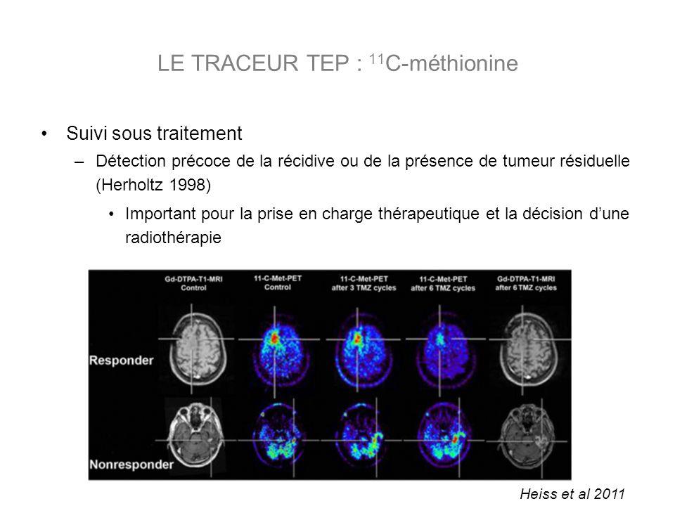 Suivi sous traitement –Détection précoce de la récidive ou de la présence de tumeur résiduelle (Herholtz 1998) Important pour la prise en charge thérapeutique et la décision dune radiothérapie LE TRACEUR TEP : 11 C-méthionine Heiss et al 2011