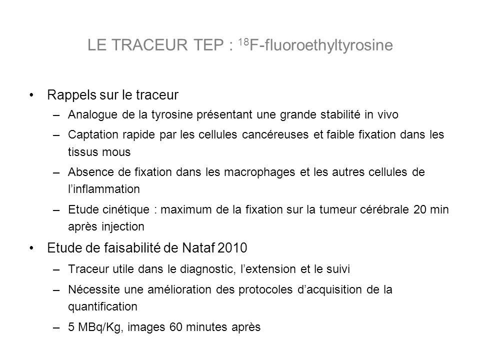 Rappels sur le traceur –Analogue de la tyrosine présentant une grande stabilité in vivo –Captation rapide par les cellules cancéreuses et faible fixation dans les tissus mous –Absence de fixation dans les macrophages et les autres cellules de linflammation –Etude cinétique : maximum de la fixation sur la tumeur cérébrale 20 min après injection Etude de faisabilité de Nataf 2010 –Traceur utile dans le diagnostic, lextension et le suivi –Nécessite une amélioration des protocoles dacquisition de la quantification –5 MBq/Kg, images 60 minutes après LE TRACEUR TEP : 18 F-fluoroethyltyrosine