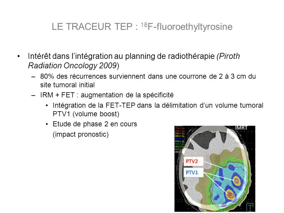 Intérêt dans lintégration au planning de radiothérapie (Piroth Radiation Oncology 2009) –80% des récurrences surviennent dans une courrone de 2 à 3 cm du site tumoral initial –IRM + FET : augmentation de la spécificité Intégration de la FET-TEP dans la délimitation dun volume tumoral PTV1 (volume boost) Etude de phase 2 en cours (impact pronostic)