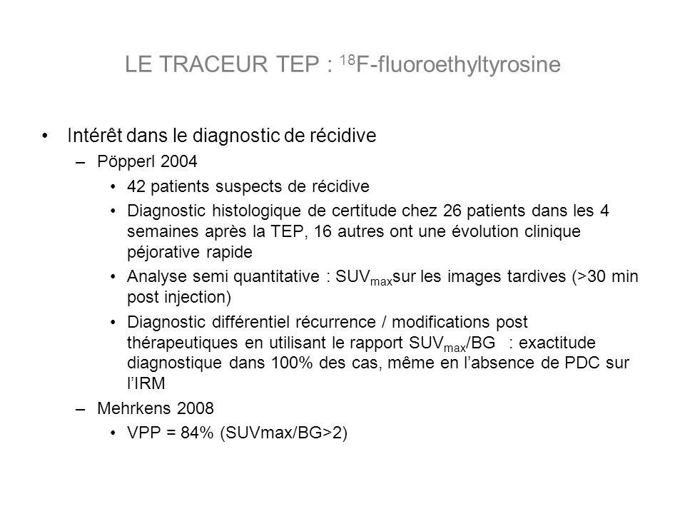 Intérêt dans le diagnostic de récidive –Pöpperl 2004 42 patients suspects de récidive Diagnostic histologique de certitude chez 26 patients dans les 4