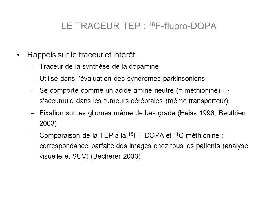 Rappels sur le traceur et intérêt –Traceur de la synthèse de la dopamine –Utilisé dans lévaluation des syndromes parkinsoniens –Se comporte comme un acide aminé neutre (= méthionine) saccumule dans les tumeurs cérébrales (même transporteur) –Fixation sur les gliomes même de bas grade (Heiss 1996, Beuthien 2003) –Comparaison de la TEP à la 18 F-FDOPA et 11 C-méthionine : correspondance parfaite des images chez tous les patients (analyse visuelle et SUV) (Becherer 2003) LE TRACEUR TEP : 18 F-fluoro-DOPA