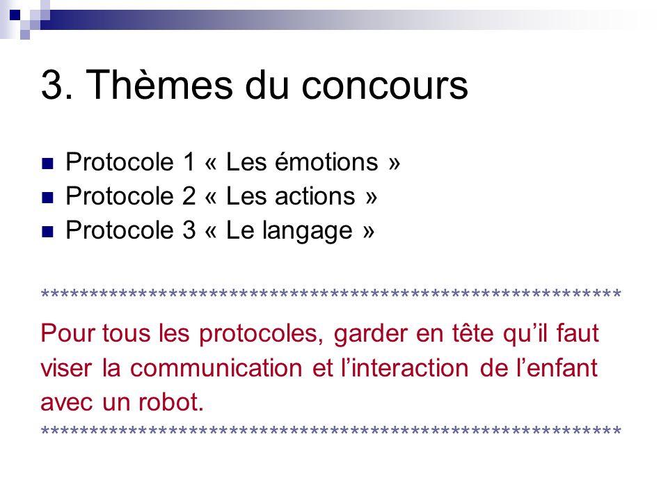 3. Thèmes du concours Protocole 1 « Les émotions » Protocole 2 « Les actions » Protocole 3 « Le langage » ********************************************