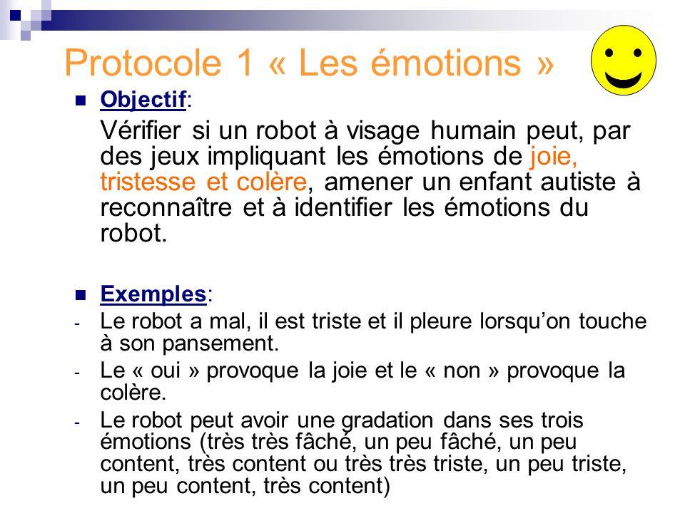 Protocole 1 « Les émotions » Objectif: Vérifier si un robot à visage humain peut, par des jeux impliquant les émotions de joie, tristesse et colère, a