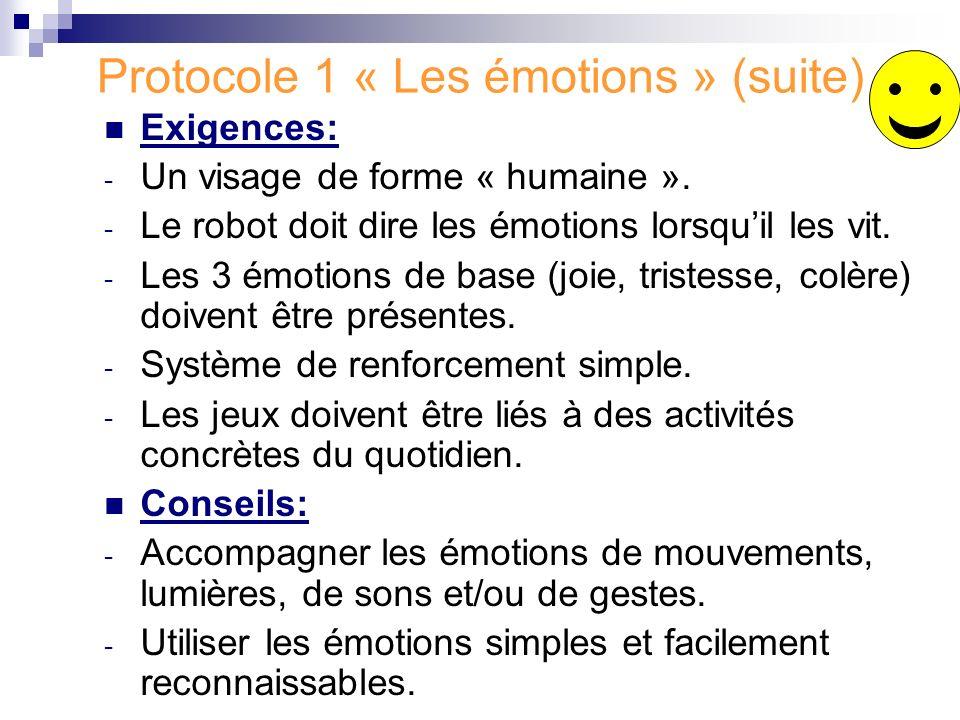 Protocole 1 « Les émotions » (suite) Exigences: - Un visage de forme « humaine ». - Le robot doit dire les émotions lorsquil les vit. - Les 3 émotions