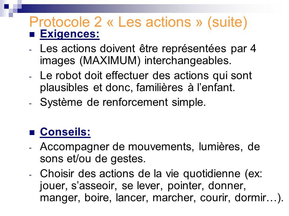 Protocole 2 « Les actions » (suite) Exigences: - Les actions doivent être représentées par 4 images (MAXIMUM) interchangeables. - Le robot doit effect