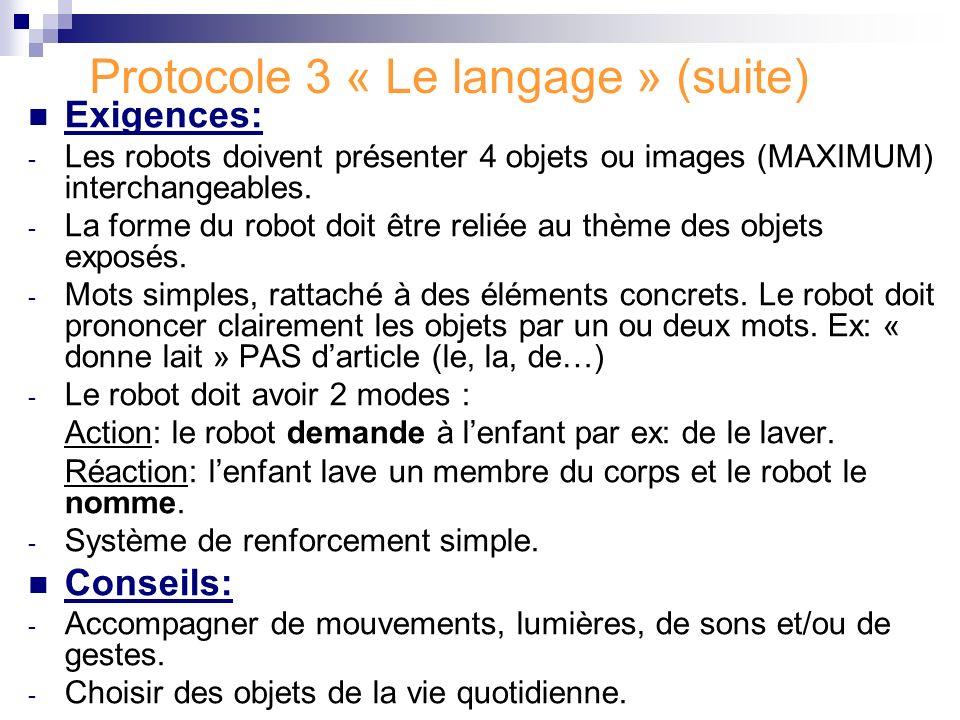 Protocole 3 « Le langage » (suite) Exigences: - Les robots doivent présenter 4 objets ou images (MAXIMUM) interchangeables. - La forme du robot doit ê