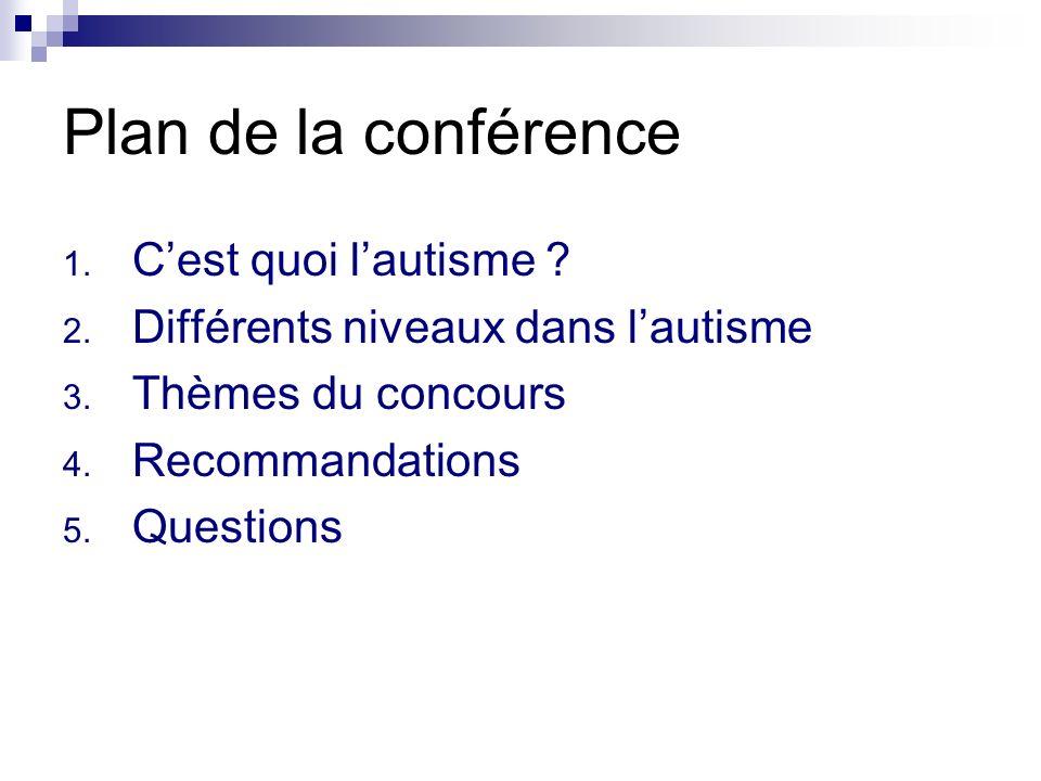 Plan de la conférence 1. Cest quoi lautisme ? 2. Différents niveaux dans lautisme 3. Thèmes du concours 4. Recommandations 5. Questions