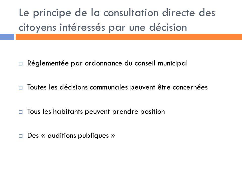 Le principe de la consultation directe des citoyens intéressés par une décision Réglementée par ordonnance du conseil municipal Toutes les décisions communales peuvent être concernées Tous les habitants peuvent prendre position Des « auditions publiques »