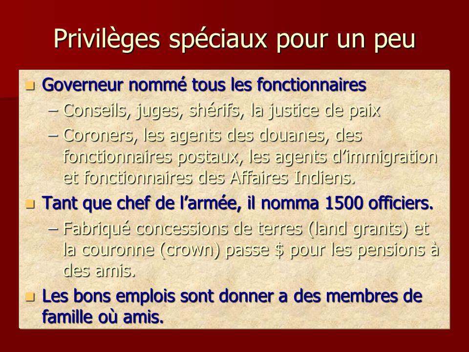 Privilèges spéciaux pour un peu Governeur nommé tous les fonctionnaires Governeur nommé tous les fonctionnaires –Conseils, juges, shérifs, la justice