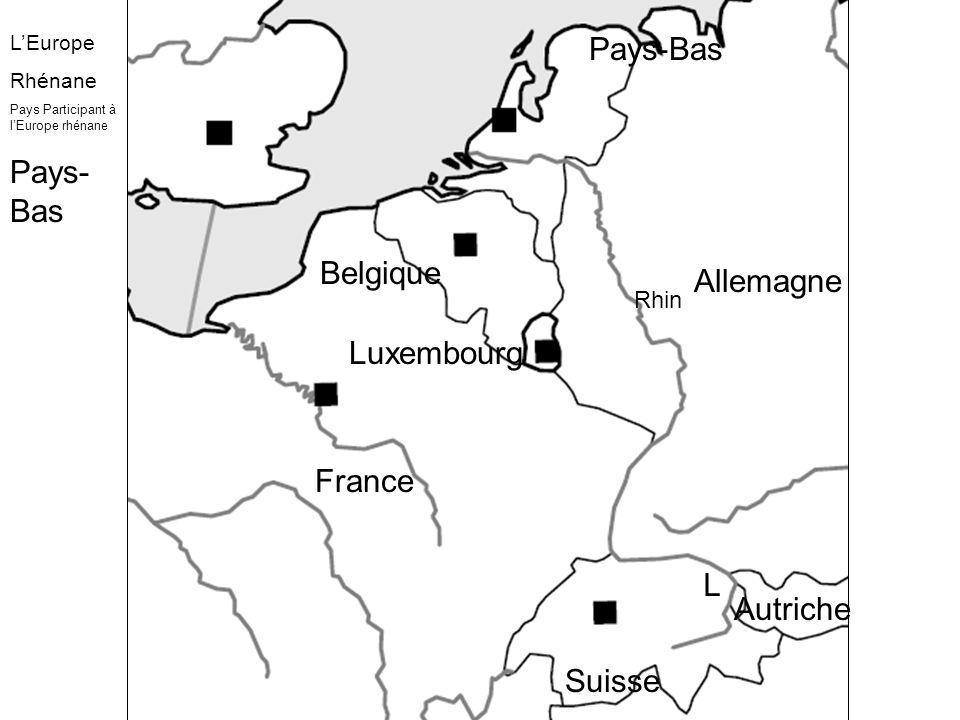 Un axe Axe Rhénan Axe majeur européen Premier port fluvial mondial Ports fluviaux secondaires Un cœur Fortes densités de population Forte urbanisation Une partie de la mégalopole européenne Des centres Capitales Métropoles Conurbations Rhin-Ruhr Bassins industriels en reconversion Des interfaces Principaux axes terrestres Axes fluviaux secondaires Régions transfrontalières Principaux tunnels Premier port mondial Ports secondaires Axe maritime majeur LEurope Rhénane :