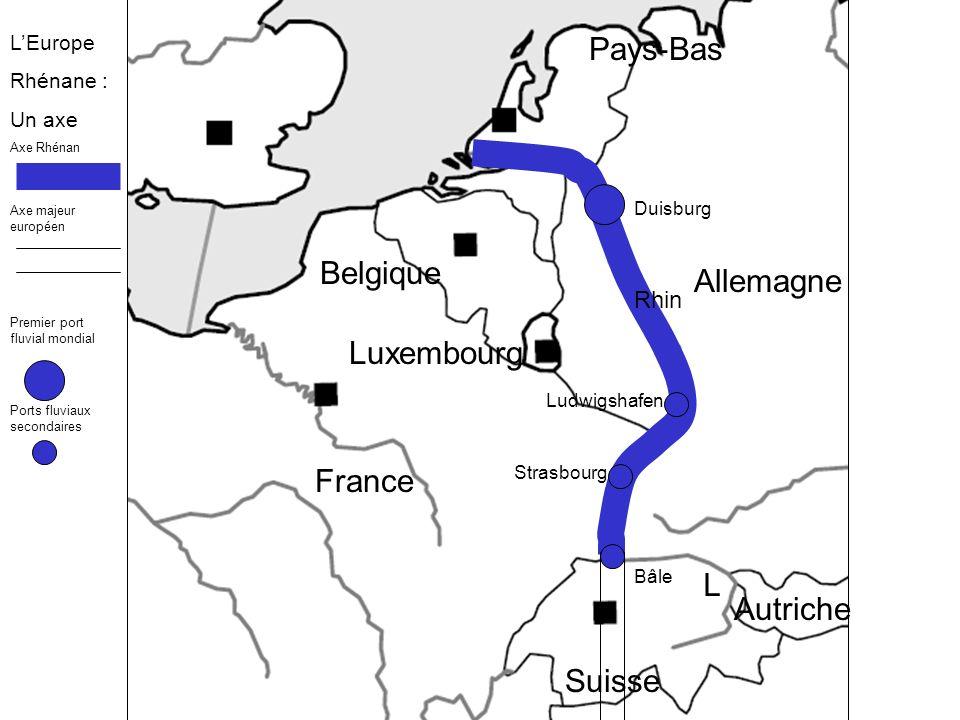 France Luxembourg Allemagne Suisse Autriche Rhin Duisburg Ludwigshafen Strasbourg Bâle Pays-Bas Belgique L LEurope Rhénane : Un cœur Fortes densités de population Forte urbanisation Une partie de la mégalopole européenne