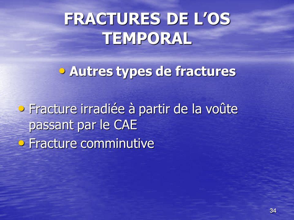 34 FRACTURES DE LOS TEMPORAL Autres types de fractures Autres types de fractures Fracture irradiée à partir de la voûte passant par le CAE Fracture irradiée à partir de la voûte passant par le CAE Fracture comminutive Fracture comminutive