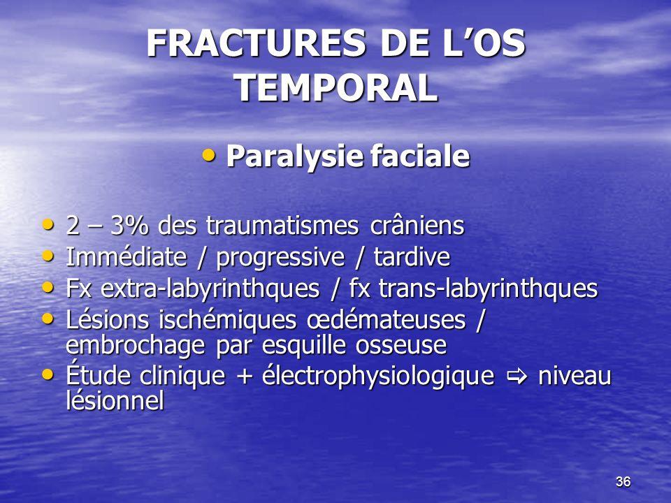 36 FRACTURES DE LOS TEMPORAL Paralysie faciale Paralysie faciale 2 – 3% des traumatismes crâniens 2 – 3% des traumatismes crâniens Immédiate / progressive / tardive Immédiate / progressive / tardive Fx extra-labyrinthques / fx trans-labyrinthques Fx extra-labyrinthques / fx trans-labyrinthques Lésions ischémiques œdémateuses / embrochage par esquille osseuse Lésions ischémiques œdémateuses / embrochage par esquille osseuse Étude clinique + électrophysiologique niveau lésionnel Étude clinique + électrophysiologique niveau lésionnel