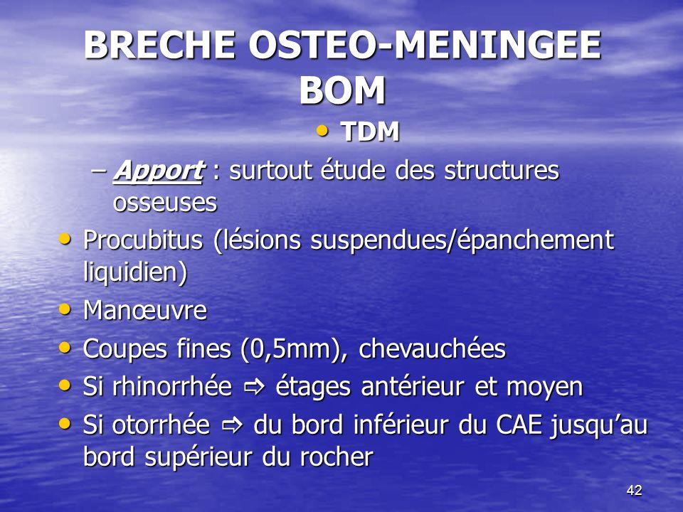 42 BRECHE OSTEO-MENINGEE BOM TDM TDM –Apport : surtout étude des structures osseuses Procubitus (lésions suspendues/épanchement liquidien) Procubitus (lésions suspendues/épanchement liquidien) Manœuvre Manœuvre Coupes fines (0,5mm), chevauchées Coupes fines (0,5mm), chevauchées Si rhinorrhée étages antérieur et moyen Si rhinorrhée étages antérieur et moyen Si otorrhée du bord inférieur du CAE jusquau bord supérieur du rocher Si otorrhée du bord inférieur du CAE jusquau bord supérieur du rocher
