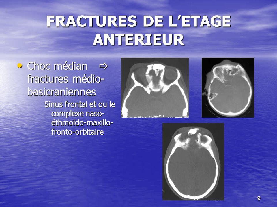 40 Risques Risques –Lésions neurologiques –Atteinte du trou déchiré postérieur (veine jugulaire interne) –Fractures des masses latérales (atteinte des sinus latéraux: dilacération, thrombophlébite cérébrale) FRACTURES DE LETAGE POSTERIEUR