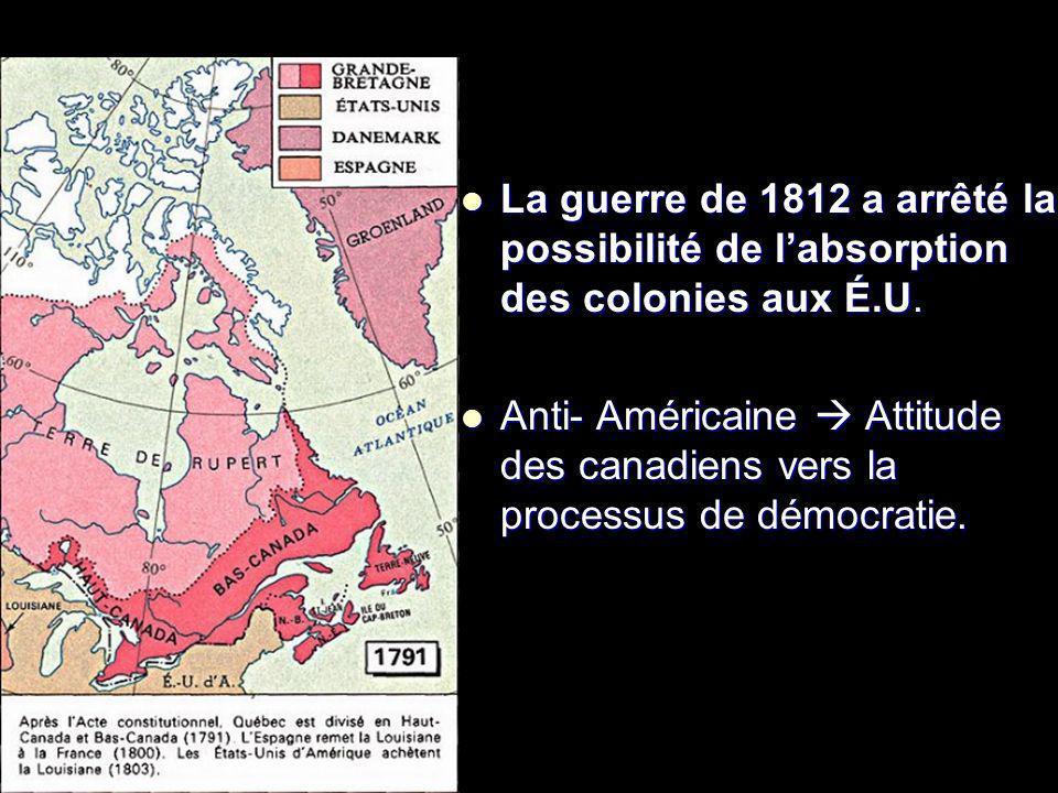 . La guerre de 1812 a arrêté la possibilité de labsorption des colonies aux É.U. La guerre de 1812 a arrêté la possibilité de labsorption des colonies