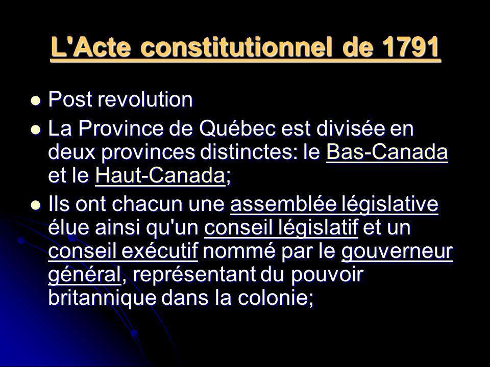L'Acte constitutionnel de 1791 Post revolution Post revolution La Province de Québec est divisée en deux provinces distinctes: le Bas-Canada et le Hau