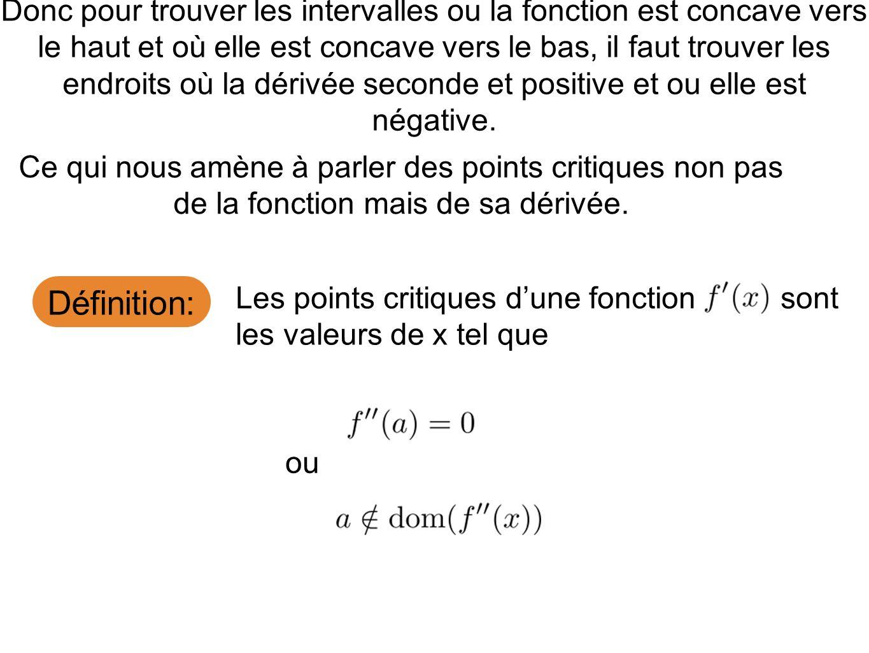 Définition: Donc pour trouver les intervalles ou la fonction est concave vers le haut et où elle est concave vers le bas, il faut trouver les endroits où la dérivée seconde et positive et ou elle est négative.