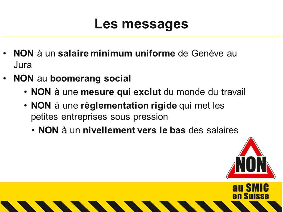 NON à un salaire minimum uniforme de Genève au Jura NON au boomerang social NON à une mesure qui exclut du monde du travail NON à une règlementation rigide qui met les petites entreprises sous pression NON à un nivellement vers le bas des salaires Les messages __________________________________________________________________________________________________________
