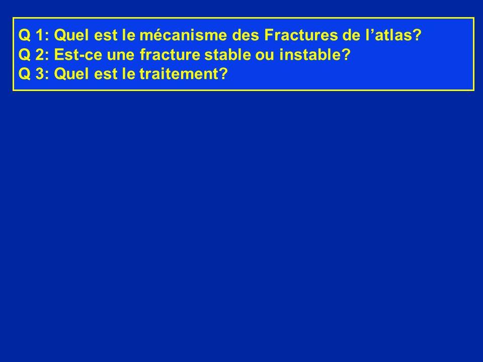 Q 1: Quel est le mécanisme des Fractures de latlas? Q 2: Est-ce une fracture stable ou instable? Q 3: Quel est le traitement?