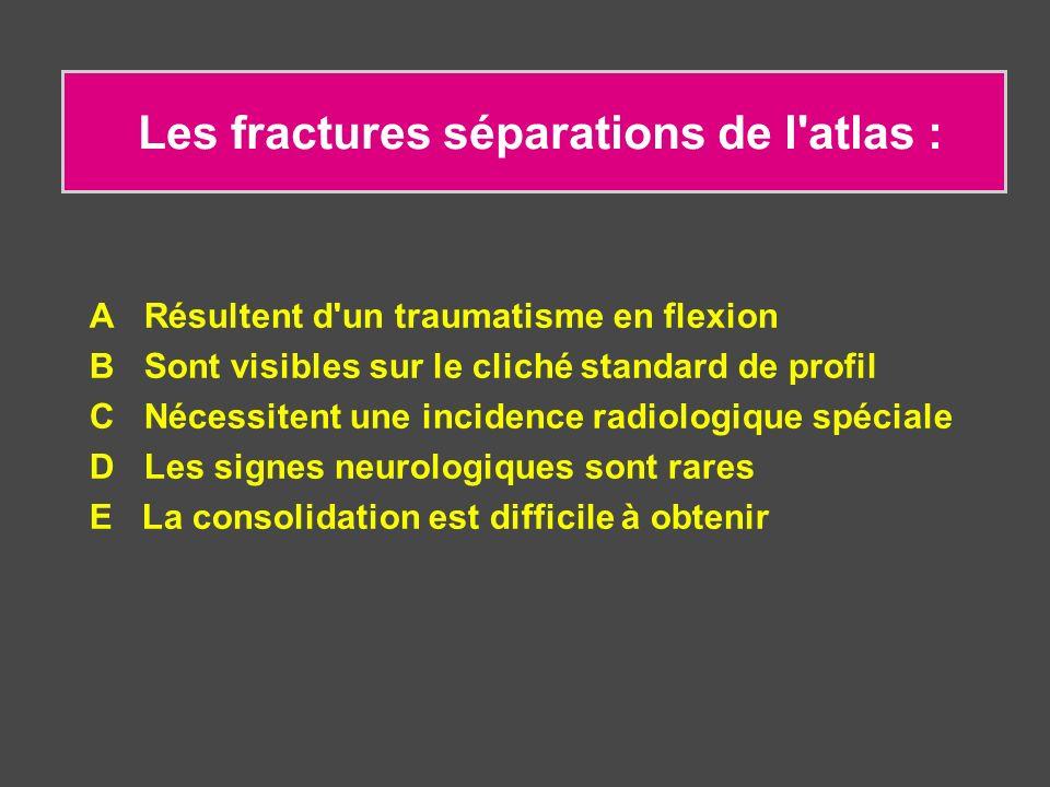 Les fractures séparations de l'atlas : A Résultent d'un traumatisme en flexion B Sont visibles sur le cliché standard de profil C Nécessitent une inci