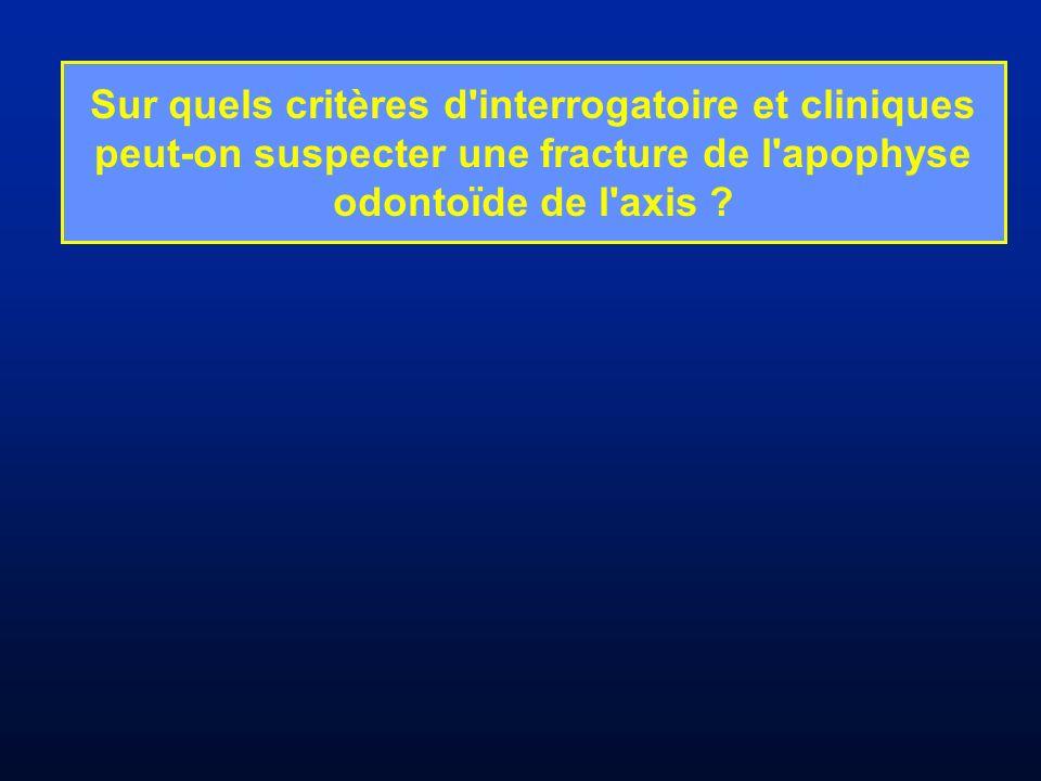 Sur quels critères d'interrogatoire et cliniques peut-on suspecter une fracture de l'apophyse odontoïde de l'axis ?