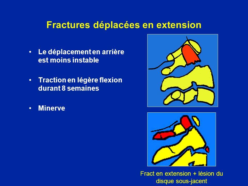 Le déplacement en arrière est moins instable Traction en légère flexion durant 8 semaines Minerve Fract en extension + lésion du disque sous-jacent