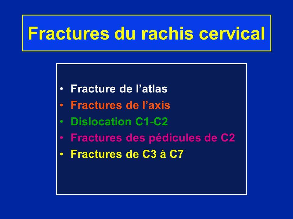 Fractures du rachis cervical Fracture de latlas Fractures de laxis Dislocation C1-C2 Fractures des pédicules de C2 Fractures de C3 à C7
