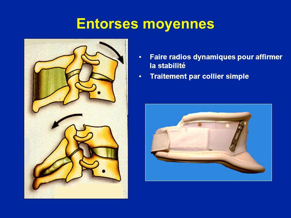 Entorses moyennes Faire radios dynamiques pour affirmer la stabilité Traitement par collier simple