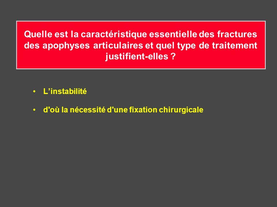 Quelle est la caractéristique essentielle des fractures des apophyses articulaires et quel type de traitement justifient-elles ? Linstabilité d'où la