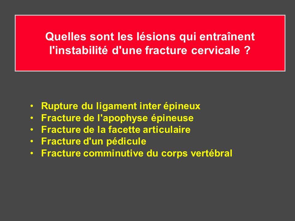 Quelles sont les lésions qui entraînent l'instabilité d'une fracture cervicale ? Rupture du ligament inter épineux Fracture de l'apophyse épineuse Fra