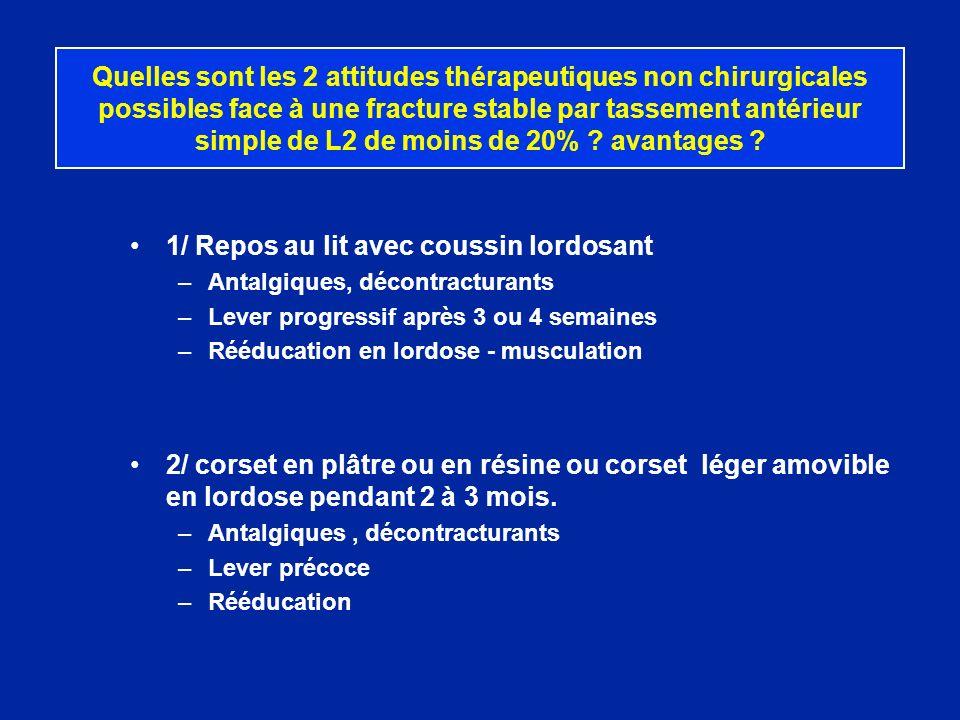 Quelles sont les 2 attitudes thérapeutiques non chirurgicales possibles face à une fracture stable par tassement antérieur simple de L2 de moins de 20