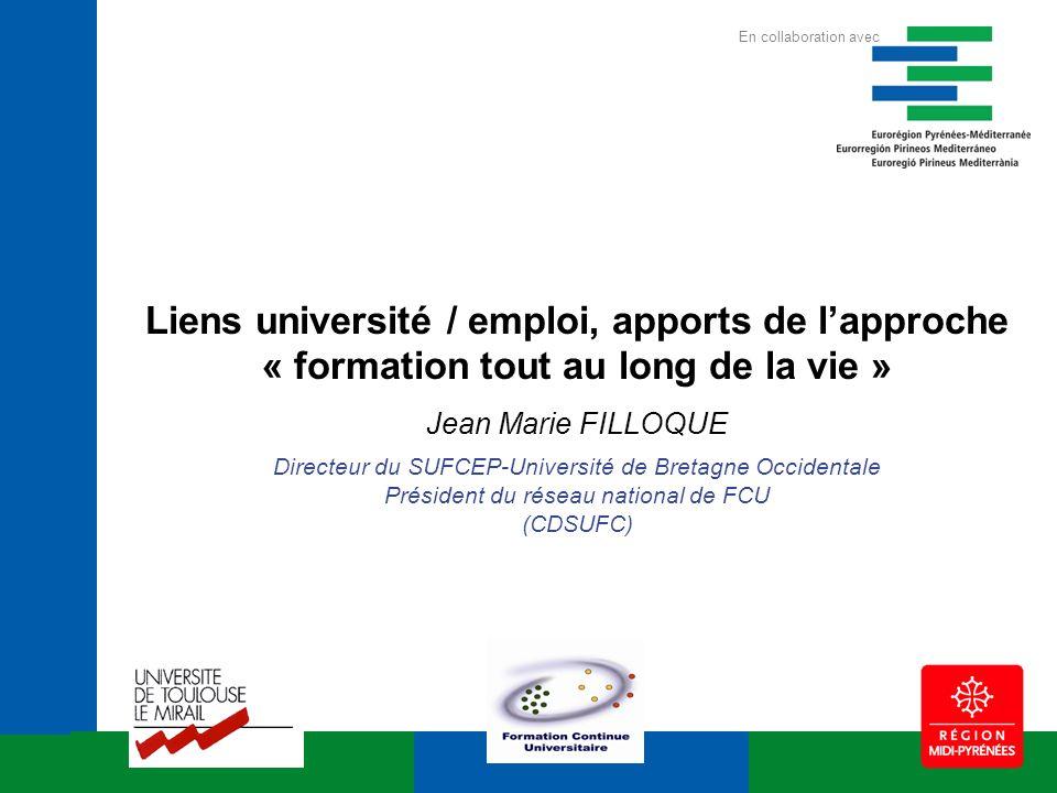 Liens université / emploi, apports de lapproche « formation tout au long de la vie » Jean Marie FILLOQUE Directeur du SUFCEP-Université de Bretagne Oc