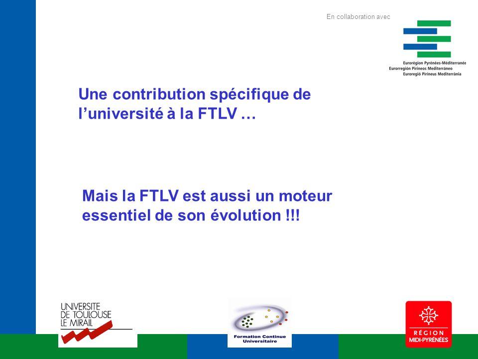 Une contribution spécifique de luniversité à la FTLV … Mais la FTLV est aussi un moteur essentiel de son évolution !!! En collaboration avec