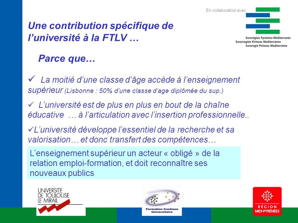 Une contribution spécifique de luniversité à la FTLV … La moitié dune classe dâge accède à lenseignement supérieur (Lisbonne : 50% dune classe dage di