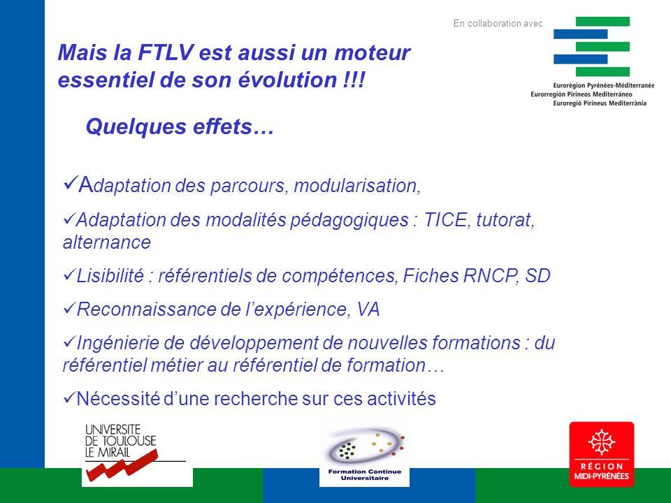 Mais la FTLV est aussi un moteur essentiel de son évolution !!! A daptation des parcours, modularisation, Adaptation des modalités pédagogiques : TICE