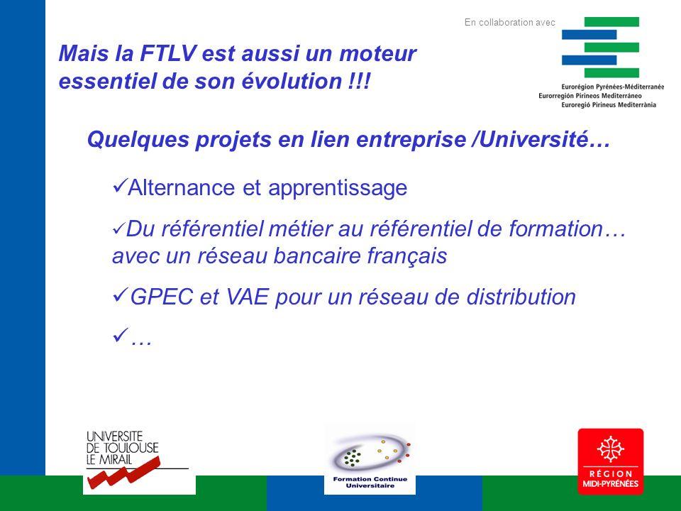 Mais la FTLV est aussi un moteur essentiel de son évolution !!! Alternance et apprentissage Du référentiel métier au référentiel de formation… avec un