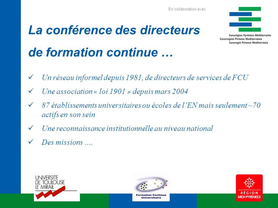 La conférence des directeurs de formation continue … Un réseau informel depuis 1981, de directeurs de services de FCU Une association « loi 1901 » dep