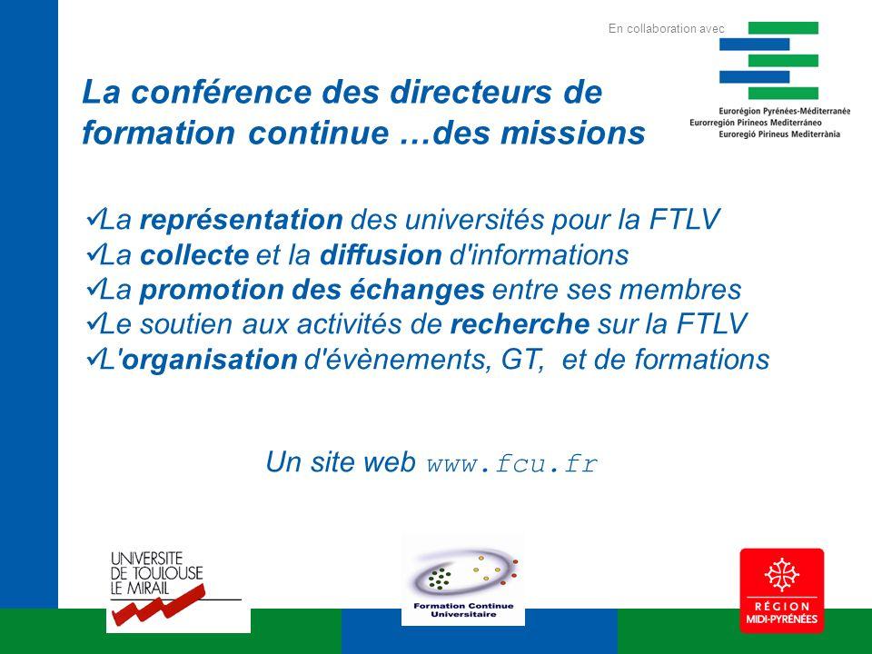 La représentation des universités pour la FTLV La collecte et la diffusion d'informations La promotion des échanges entre ses membres Le soutien aux a