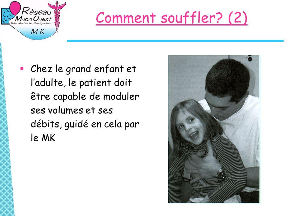 Comment souffler? (2) Chez le grand enfant et ladulte, le patient doit être capable de moduler ses volumes et ses débits, guidé en cela par le MK