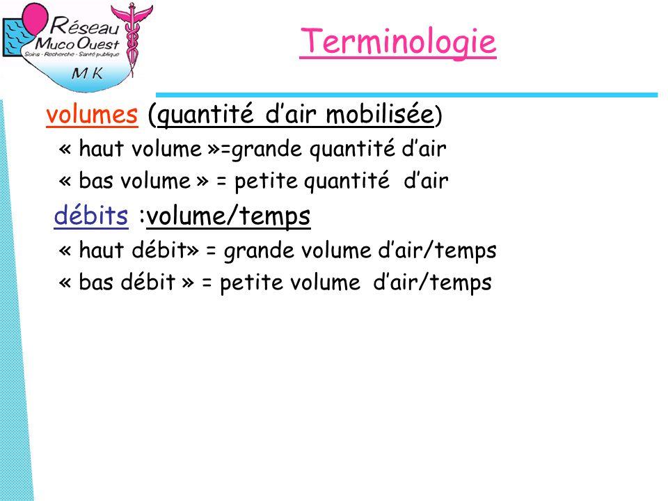 Terminologie volumes (quantité dair mobilisée ) « haut volume »=grande quantité dair « bas volume » = petite quantité dair débits :volume/temps « haut