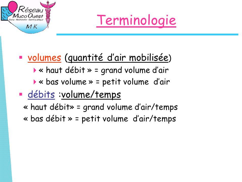 Terminologie volumes (quantité dair mobilisée ) « haut débit » = grand volume dair « bas volume » = petit volume dair débits :volume/temps « haut débi