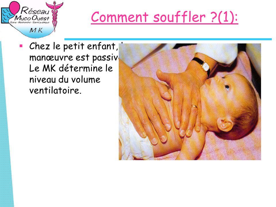 Comment souffler ?(1): Chez le petit enfant, la manœuvre est passive. Le MK détermine le niveau du volume ventilatoire.